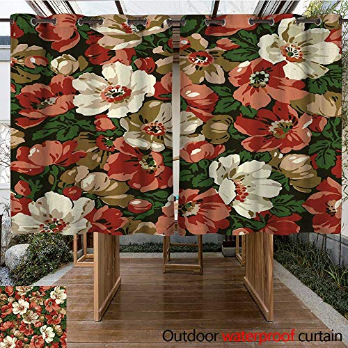 RenteriaDecor Home Patio Outdoor Curtain Pattern Beautiful Pink Blooming Realistic Isolated Flowers Vintage Background Apple Wildflowers Wallpaper Baroque Drawin W55 x L72