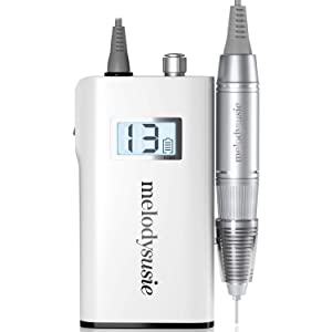 MelodySusie Professional Rechargeable 30000 rpm Nail Drill, Portable Electric E File Scamander, Acrylic Gel Grinder Tools with 6 Bits and Sanding Bands for Manicure Pedicure Shape Carve Polish, White
