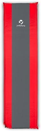 Yukatana Goodrest 10 Colchoneta Aislante autohinchable 10cm de Grosor Gris-Rojo (Esterilla Auto Inflable, Espuma de tafetán, extralarga, desplegable, ...