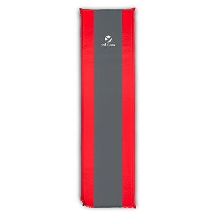 Yukatana Goodrest Colchoneta aislante autohinchable 3 / 5 / 7 / 10 cm de grosor rojo- (esterilla auto inflable, espuma de tafetán, extralarga, ...
