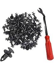 DanziX 100 Piece Nylon Bumper Fastener Rivet Clips, Automotive Furniture Assembly Expansion Screws Kit Auto Body Clips 8mm + 1 Plastic Fastener Remover