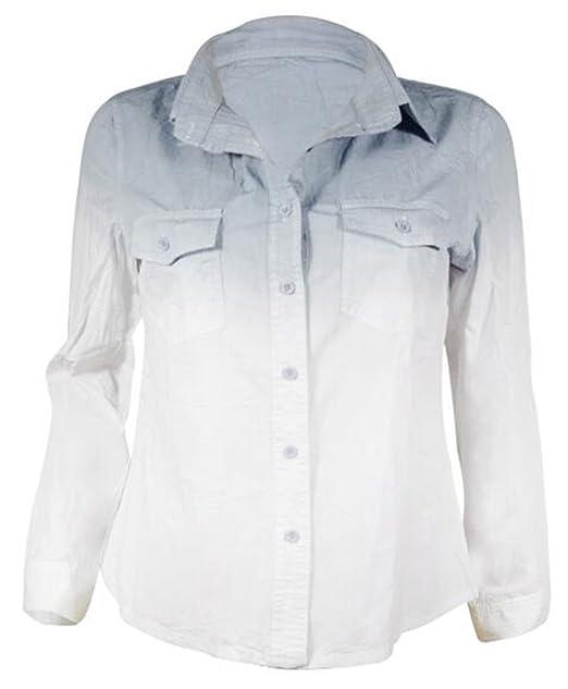 AILIENT Camisas Color De Degradado Mujer Elegantes Camisetas Manga Larga Maglia Hipster Top de Moda Blusa