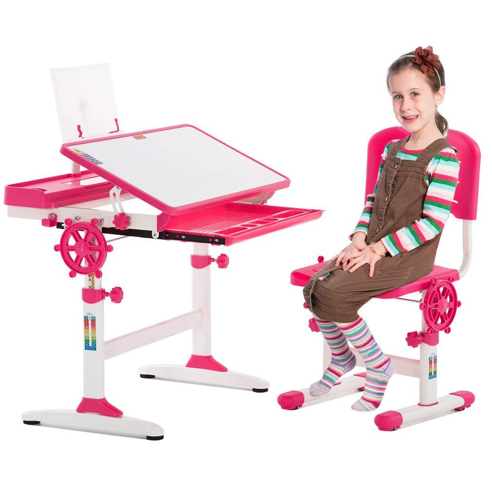 FDW Student Kids Desk Height Adjustable Ergonomic Study Desk with Storage for Girls,Pink