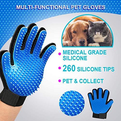 mihealpet Pet Grooming Beauty Glove - Enhanced 5 Finger Design Easy Efficient Care Hair Remover Brush Mitt, Best for Dogs Cats 1 Pair