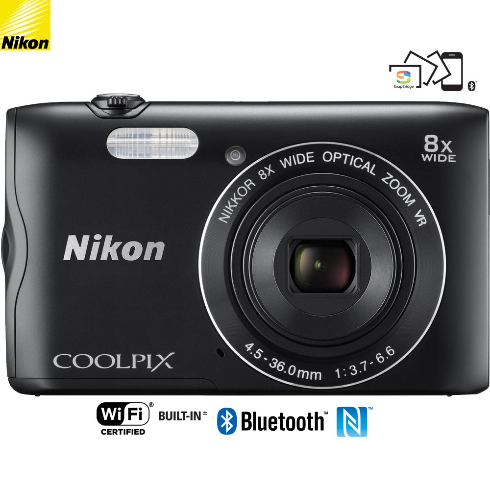 Nikon Coolpix A300 20.1MP 8X Optical Zoom NIKKOR WiFi Black Digital Camera - (Certified Refurbished)