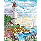 New Paint by Number Framed, Digital Oil Painting with Frame + Seaside Castle 16 X 20 inch + Diy Oil Painting Kits on Canvas for Adults Beginner Kids PBN with Wooden Frame Woods