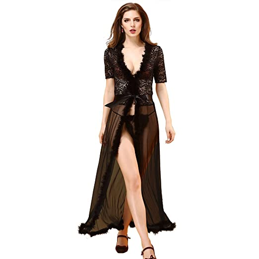 902c47bc6 Image Unavailable. Image not available for. Color  Hoter Women Erotic Sexy  Deep V Babydoll Dress Long Lingerie Set with ...