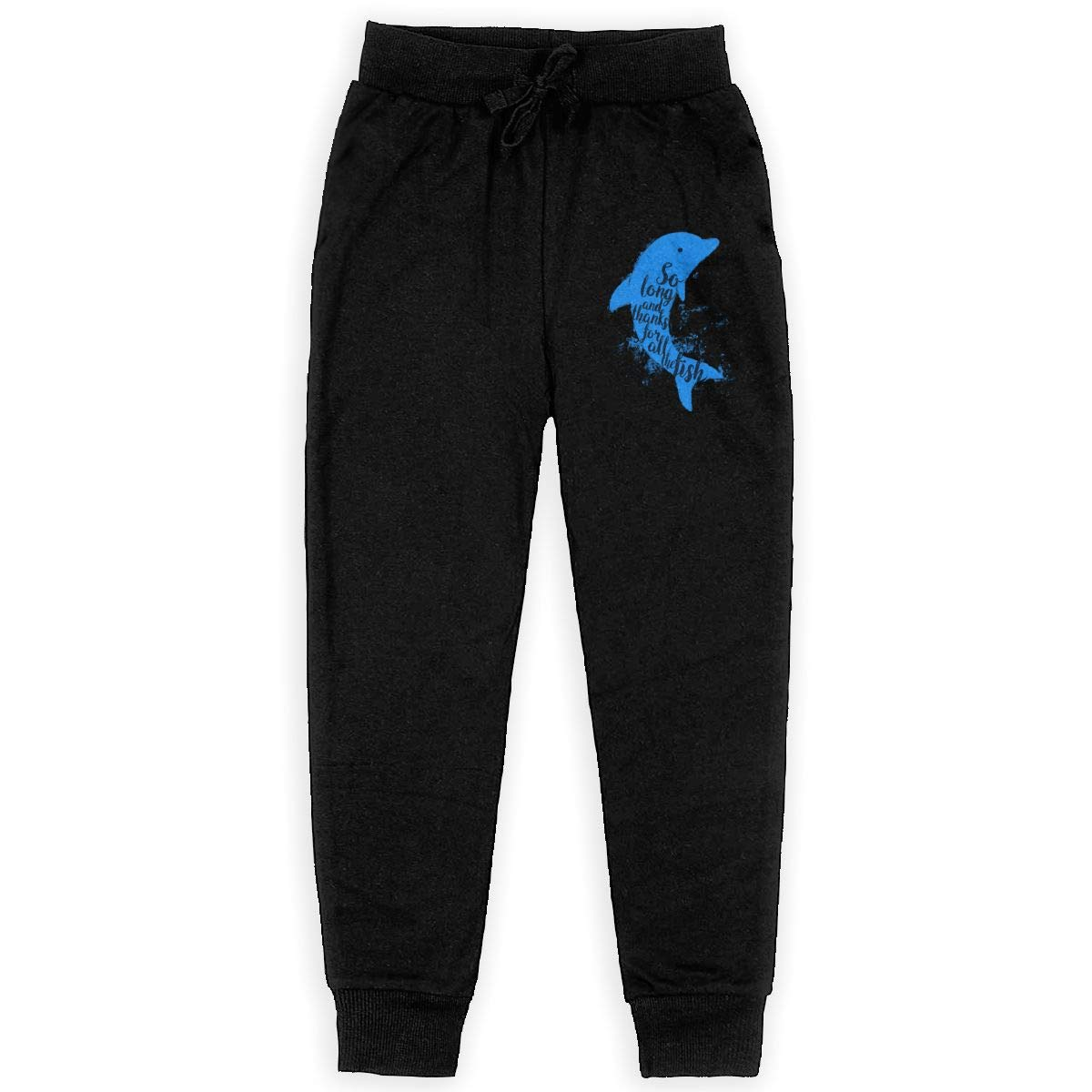 Kim Mittelstaedt Thankful Dolphin Boys Big Active Basic Casual Pants Sweatpants for Boys Black