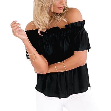Imixcity Chic Top Femme Été Épaules Nues Bateau Lâche Haut Blouse T-Shirt  avec 3 71b058495c1d