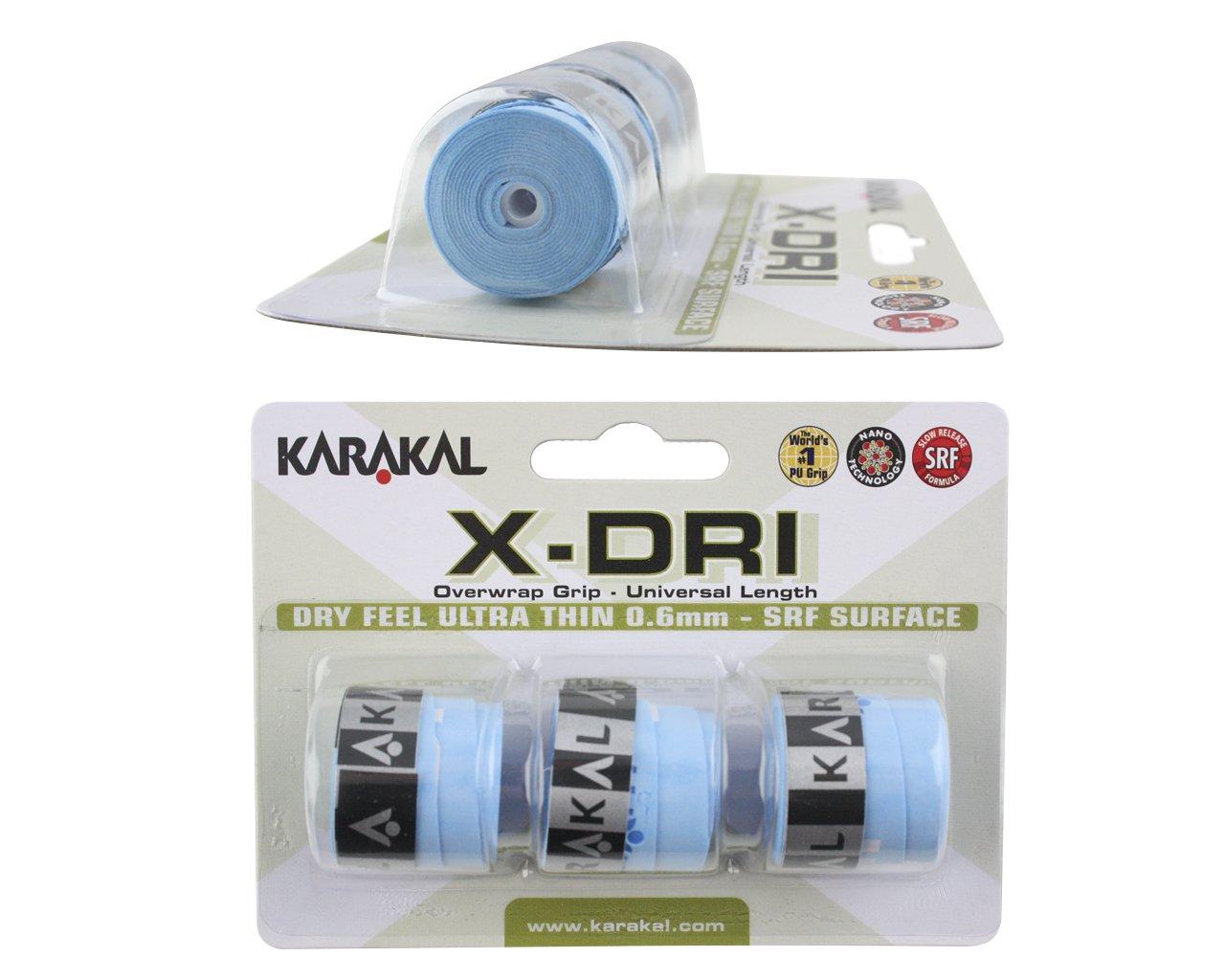 Karakal X-DRI Overgrips - Pack of 3 - Blue - Tennis - Squash - Badminton