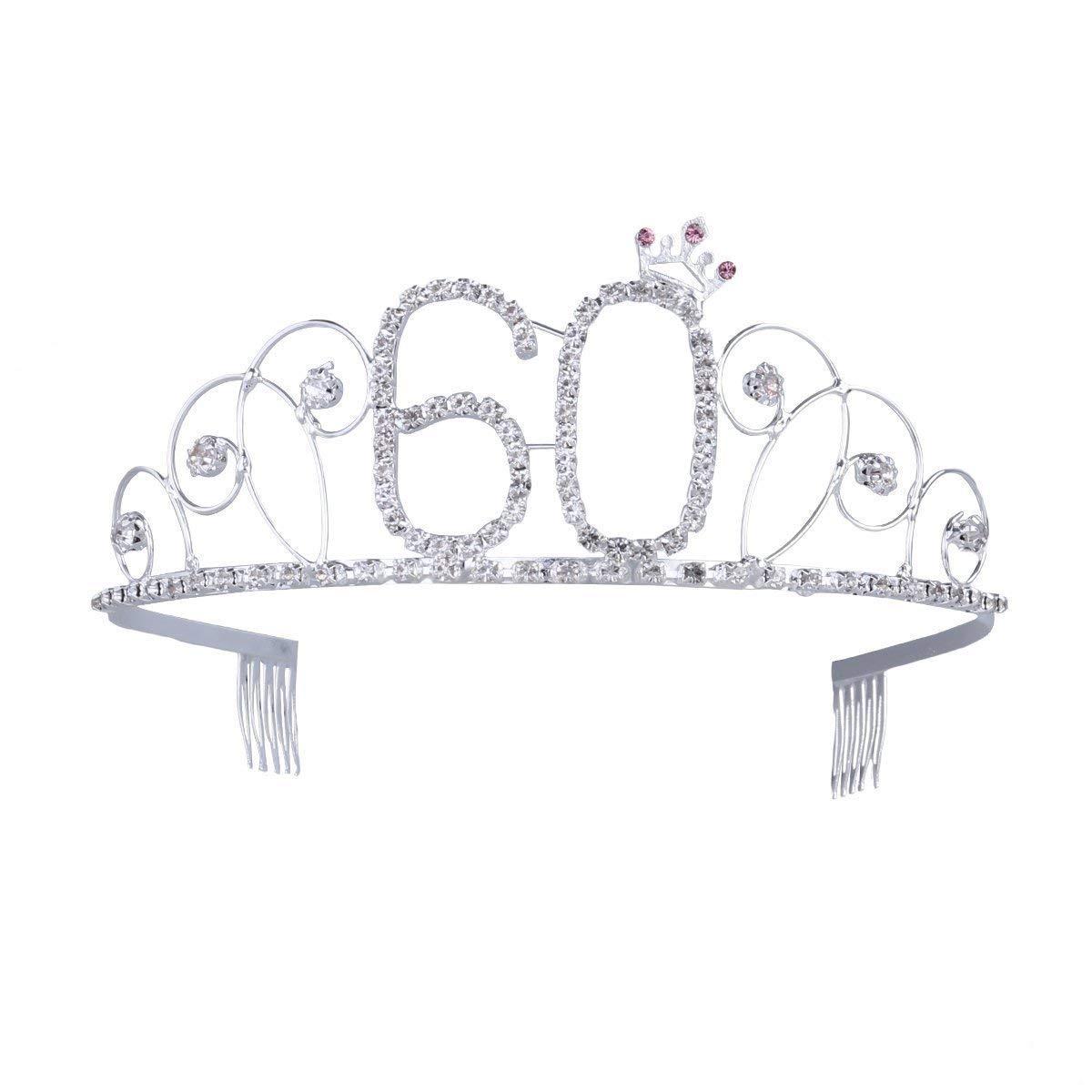 Ouinne Diad/ème Anniversaire Couronne Joyeux anniversaire 80 ans Strass Cristal Argent