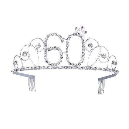 Ouinne Tiara Cristal Cumpleaños Corona Princesa Feliz Cumpleaños de Número 60 Accesorios con Peine