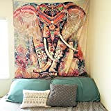 Pertongty Indian Flower Elephant Mandala Tapestry Wall Hanging Bedspread Throw Hippie Boho Decoration (Small/59'' X 51'', Pattern 01)