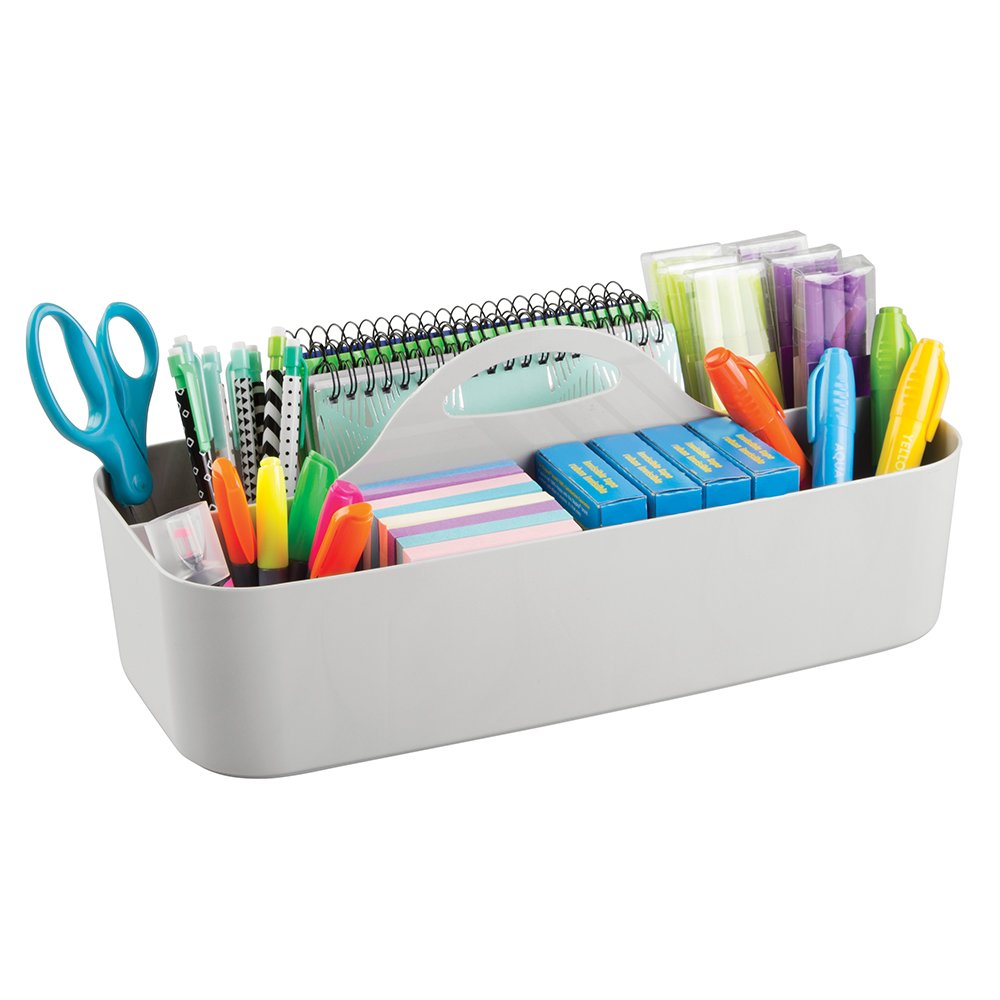 mDesign Office Supplies Desk Organizer Tote for Scissors, Pens, Pencils, Notepads, Markers, Highlighters, Tape - Large, Light Gray