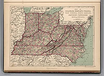 "Map Poster - Delaware, Maryland, Virginia, West Virginia, North Carolina, Kentucky, Tennessee, Ohio and Indiana. - 24""x17.5"""