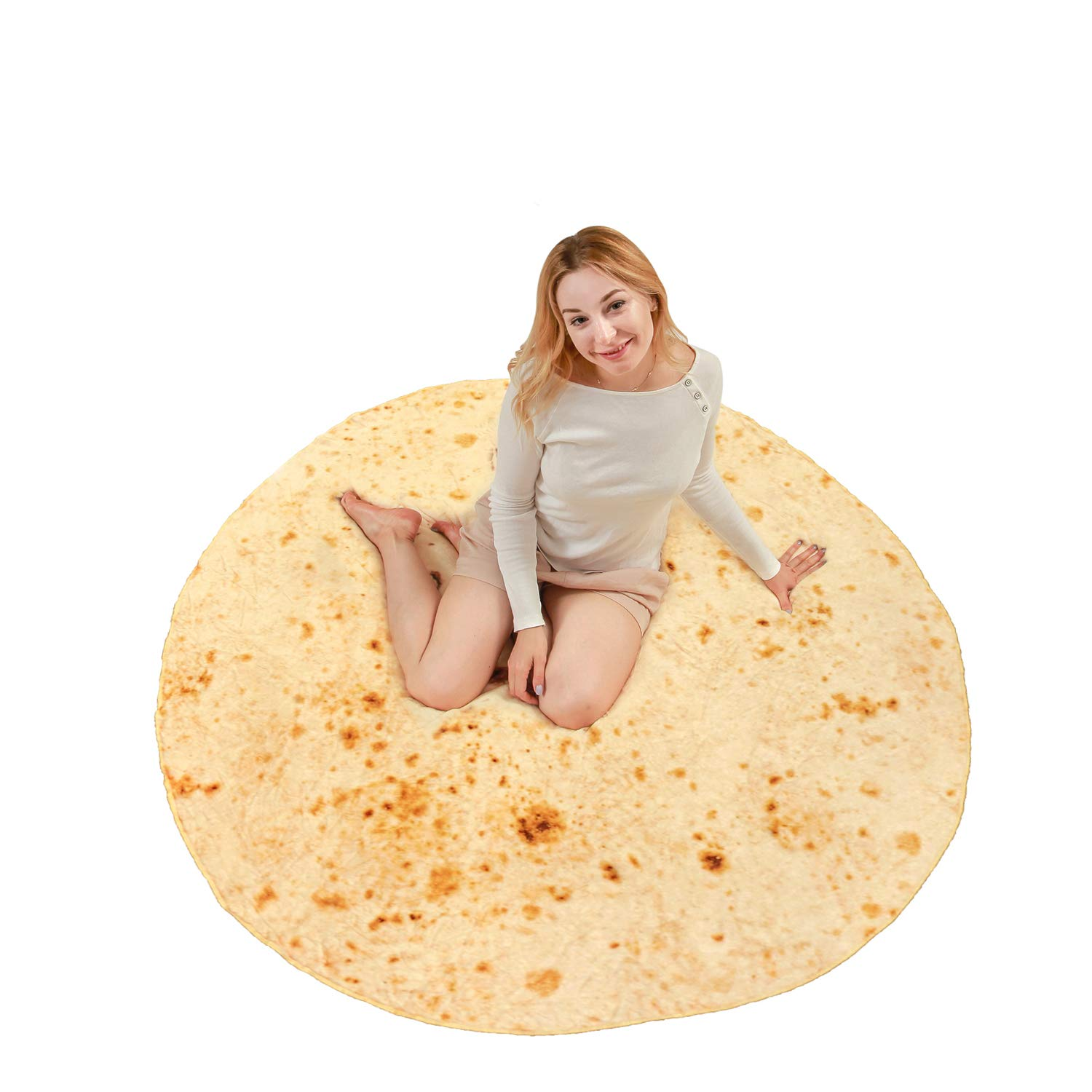 softan Burritos Tortilla Blanket for Kids Teens Adults| Super Soft Flannel Fleece Burritos Wrap Novelty Blanket | Fluffy Round Food Throw for Sofa Couch Bed (71'' Diameter, Pattern A)