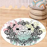 VROSELV Custom carpetAnimal French Bulldog with Floral Wreath on Brushstroke Watercolor Print for Bedroom Living Room Dorm Mint Light Pink Pale Green Round 79 inches