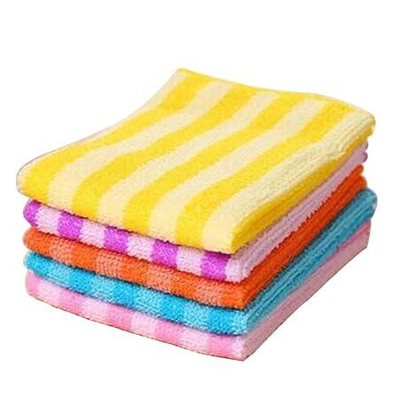 5pcs cocina comedor rayas lavado toalla absorbente trapos de microfibra cuadrado – color al azar