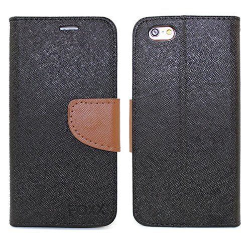 Iphone 5, 5S, SE Case, Full-Body Premium PU Flip Cover Case for Apple Iphone 5, 5S, SE Folio Leather Flip Wallet Case with Foldable Kickstand Stand By Foxx Electronics (Black)