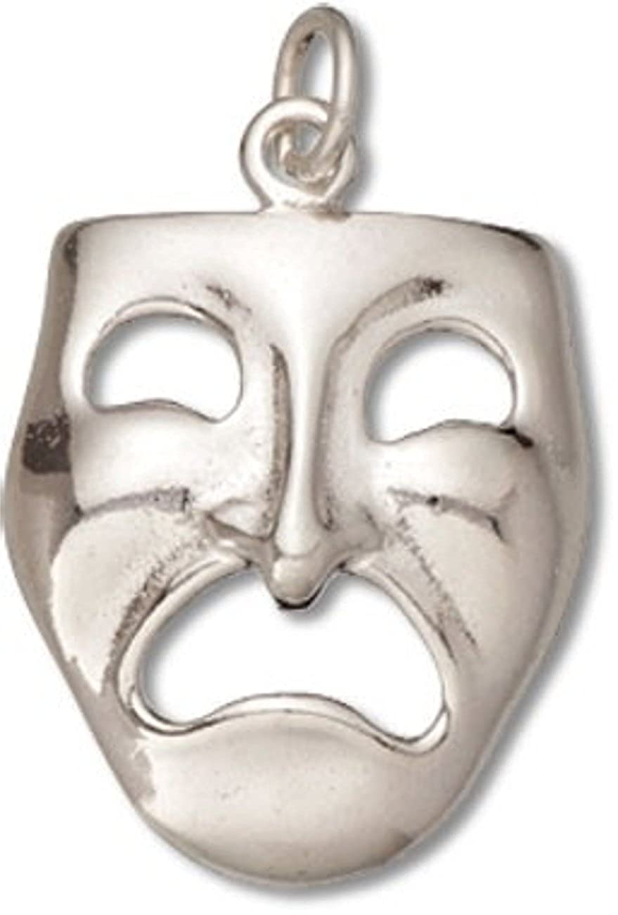 Sterling Silver Girls .8mm Box Chain 3D Tragedy Theater Actor Mask Pendant Necklace