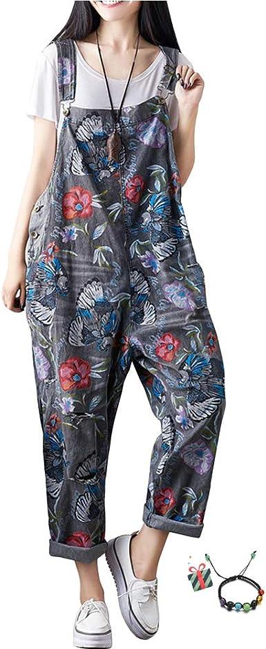 Damen Retro Jumpsuits Hose Lässig Taschen Breitbeinig Ärmellos Overalls Latzhose