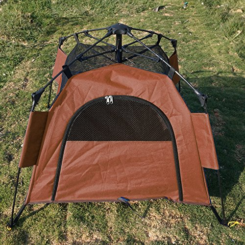 Khaki Dog (RORAIMA Instant Dog tent mesh fabric with Rain and sunproof fly,indoor or outdoor use, Product size 42X42X31 inch Color Khaki or Blue)