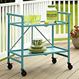 Home Improvements Summer Blue Indoor Outdoor 2 Tier Metal Serving Cart Bar Cart Rolling Patio Buffet Folds for Storage