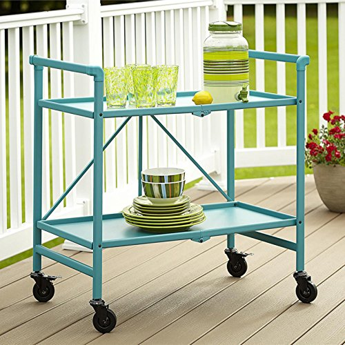 Home Improvements Summer Blue Indoor Outdoor 2 Tier Metal Serving Cart Bar Cart Rolling Patio Buffet Folds for Storage by Home Improvements