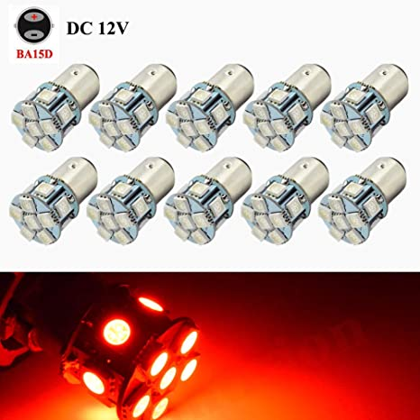 2Pcs 7 Red 18SMD 5050 LED Reverse Back Up Brake Stop Turn Tail Light Bulbs