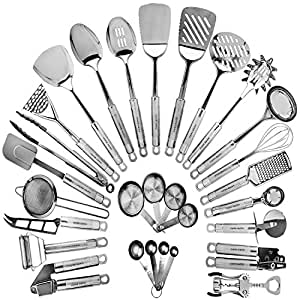 Stainless Steel Kitchen Utensil Set - 29 Cooking Utensils - Nonstick Kitchen Utensils Cookware Set with Spatula - Best Kitchen Gadgets Kitchen Tool Set Gift by HomeHero
