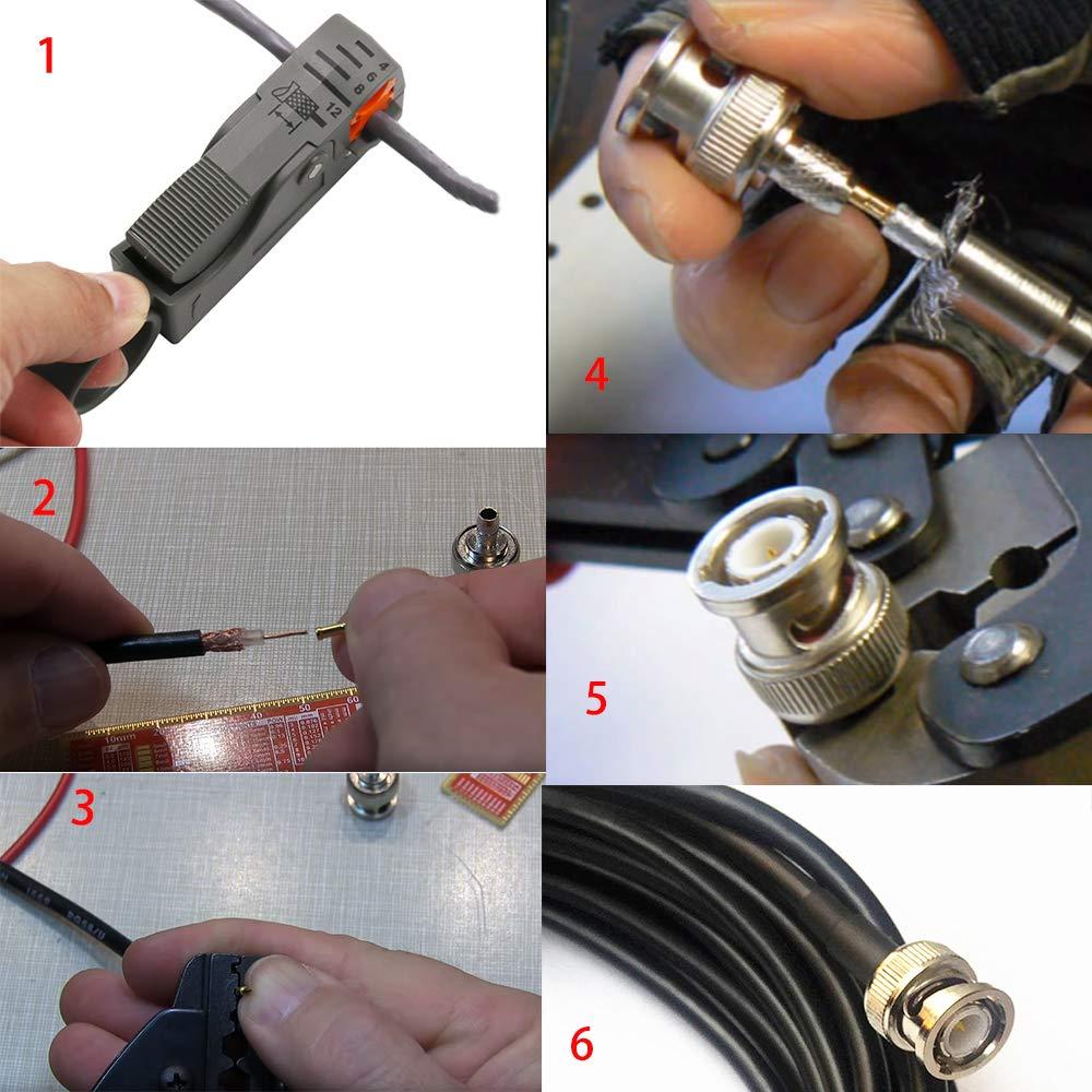 Crimpzange f/ür RG58 Kagni BNC//TNC Ratschen-Crimpzange und Koaxialkabel-Abisolierzange mit 10-tlg BNC-Crimp-Stecker f/ür RG58