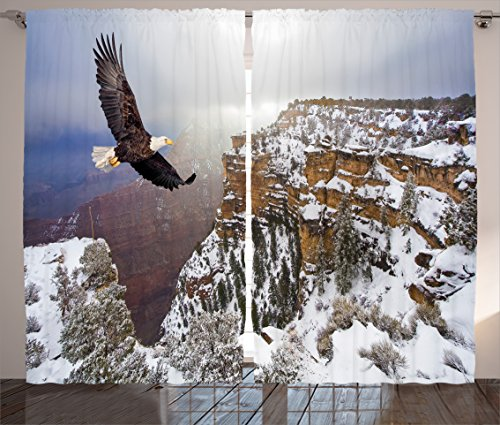 - Ambesonne Wildlife Decor Curtains, Aerial View of Bald Eagle Flying in Snowy Grand Canyon Rocky Arizona USA, Living Room Bedroom Window Drapes 2 Panel Set, 108 W X 84 L inches, White Brown