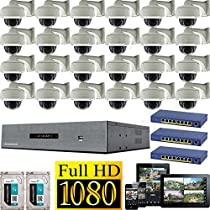 USG 25 Channel 1080P PoE IP CCTV Kit with 24 Cameras: 24x 1080P IP PoE 2.8-12mm Dome with Bracket Cameras + 1x 25 Channel 1080P NVR + 3x 9 Port PoE Switches + 2x 3TB HDD High Definition Video Surveillance For Your Home or Business