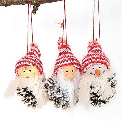 JUNMAONO Christmas Decoración, Santa Muñeco Muñecas Adornos Colgantes, Anillo De Toalla, Navidad Decoraciones