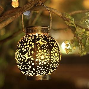 Solar Lantern Outdoor Hanging 2 Pack, Metal Hanging Garden Outdoor Lights Waterproof ,LED Table Lantern Decorative Lamp with Handle Lighting for Patio, Tree , Yard