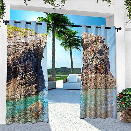 leinuoyi Beach, Outdoor Curtain Pole, Old Rocky Stone Arches on Spanish Seacoast Summer Nature Scenery Mediterranean Print, Outdoor Curtain Set for Patio Waterproof W96 x L108 Inch Blue -