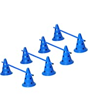PawHut Set of 4 Dog Agility Hurdle Cone Set Agility Training Equipment 8 Cones 4 Rods Starter Kit with Carrying Bag Blue