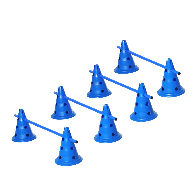 PawHut Set of 4 Dog Agility Hurdle Cone Set Agility Training Equipment 8 Cones 4 Rods Starter Kit bluee