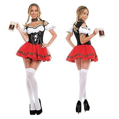FidgetGear Sexy Oktoberfest Beer Maid Wench German Bavarian Heidi Fancy  Dress Costume S-2XL Red Black White 8cfdcbb2a5f2
