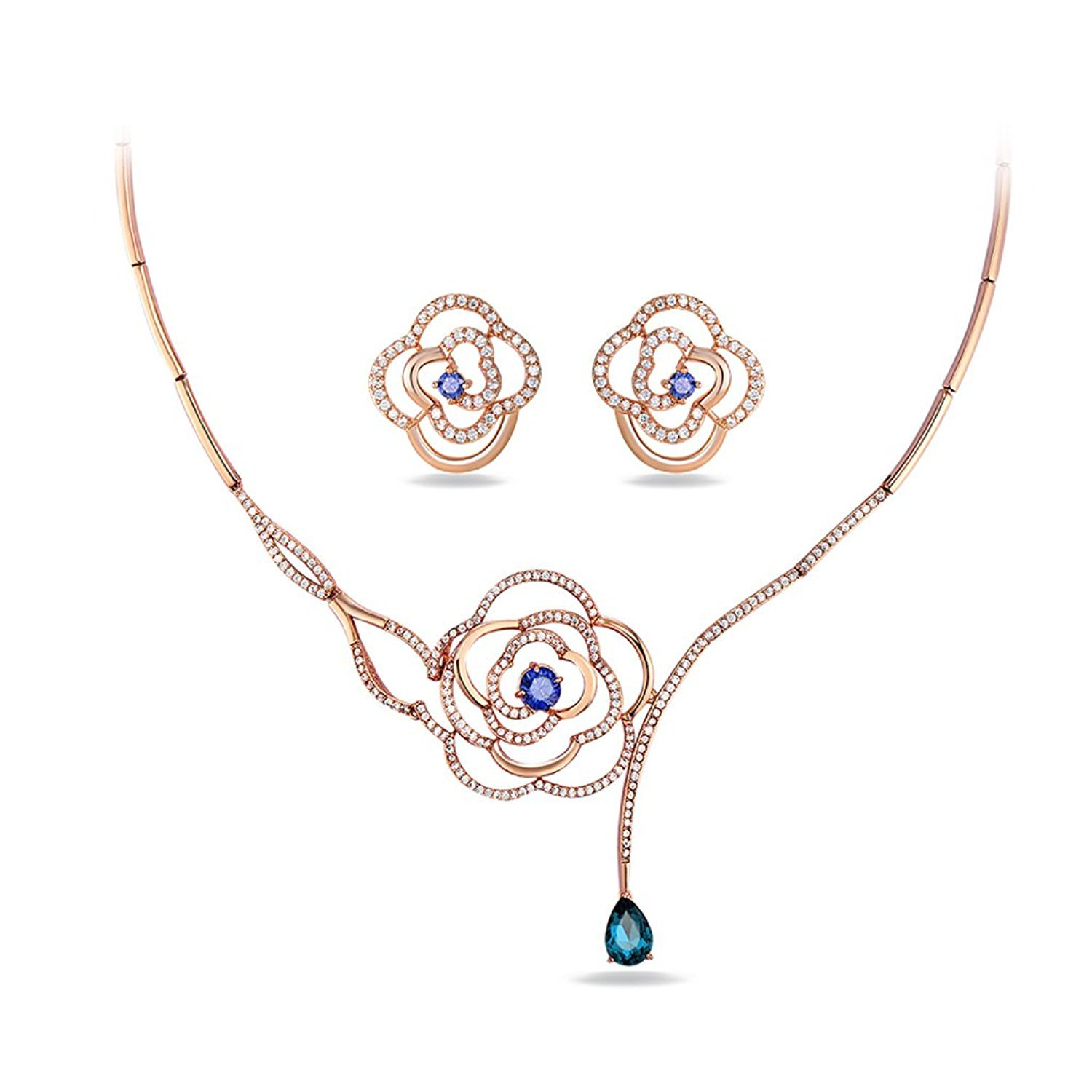 IUHA Love Roses Shaped Cubic Zirconia eye-catching Necklance and Earrings Luxury Jewelry Sets Wedding Gift by IUHA