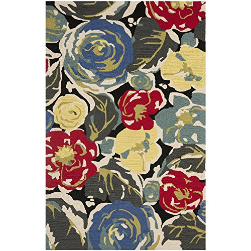 Safavieh Four Seasons Collection FRS437A Hand-Hooked Black and Multi Indoor/ Outdoor Area Rug (3'6