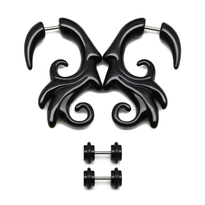 vcmart 16g 4Pcs Tribal Spiral Fake Gauges Acrylic Ear Tapers Fake Plugs Horn Stud Earrings Ear Piercing Jewelry Bri-Ear-Tapers-1