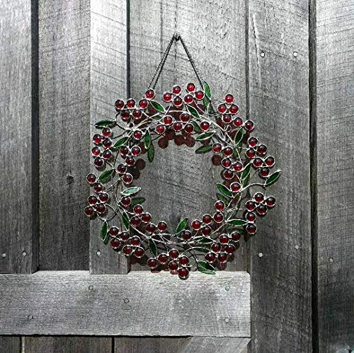 Stained Glass Berry Wreath Sun Catcher, Red