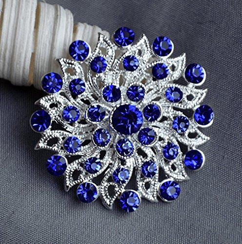 5 Dark Royal Blue Rhinestone Button Crystal Embellishment Wedding Brooch Bouquet Cake Hair Comb Shoe Clip BT430