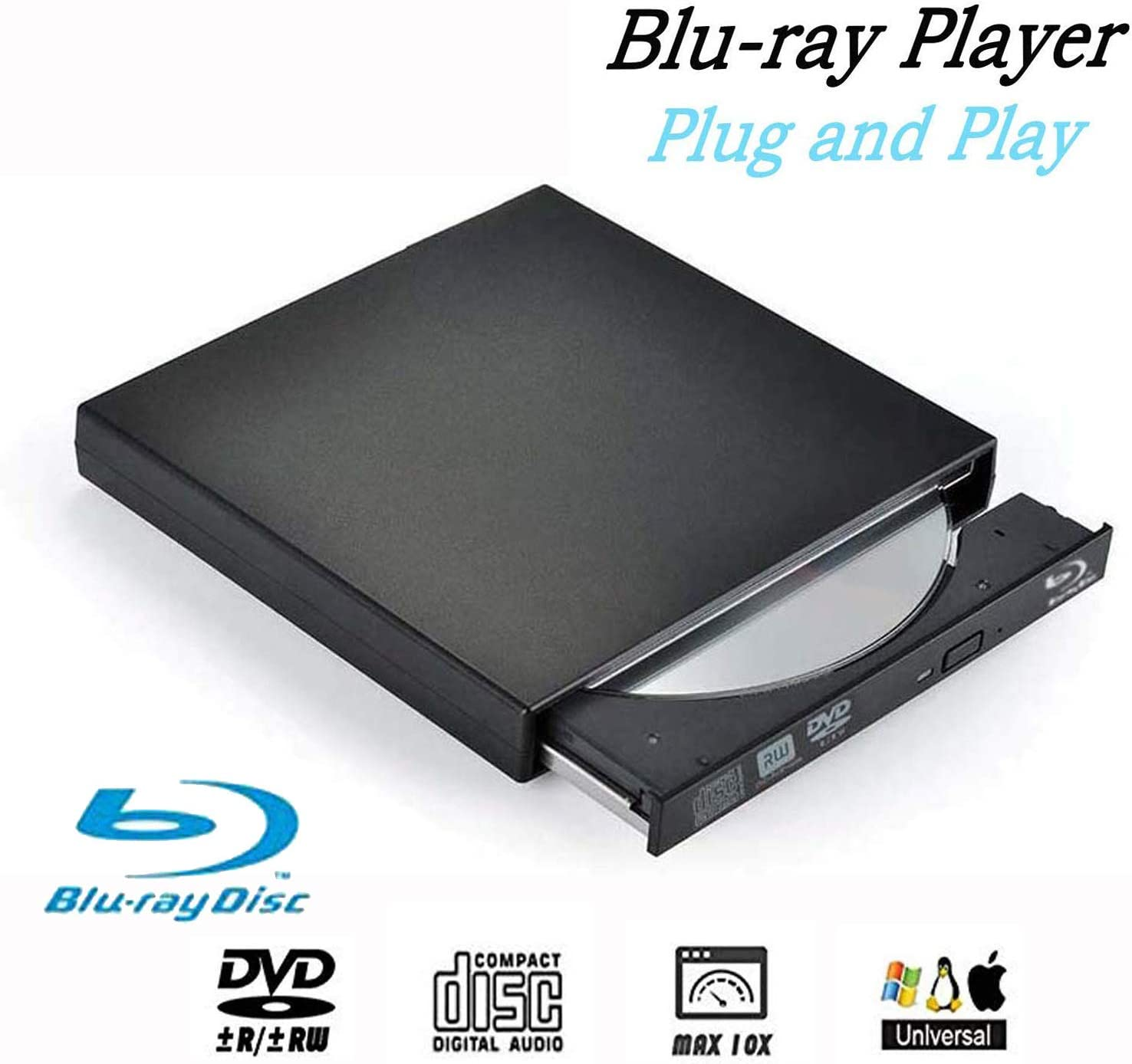 Blu-Ray Drive DVD Drive USB External Portable DVD Burner BD-ROM DVD/CD-RW/ROM Writer for Windows 2000/XP/Vista/Win 7/Win 8/Win 10 Notebook PC Desktop Computer,Plug and Play