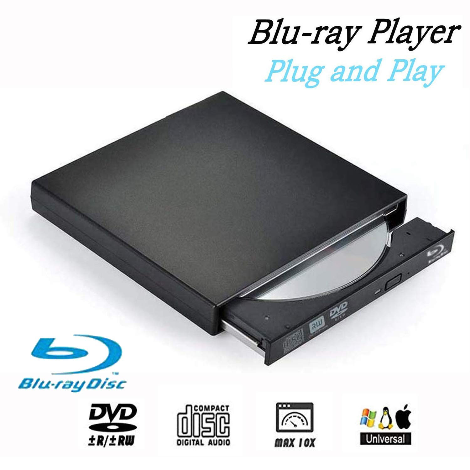 Blu-Ray Drive DVD Drive USB External Portable DVD Burner BD-ROM DVD/CD-RW/ROM Writer for Windows 2000/XP/Vista/Win 7/Win 8/Win 10 Notebook PC Desktop Computer,Plug and Play by Ploveyy