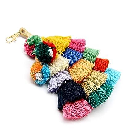 Borla Pom Pom Llavero Boho Charm Llavero, Accesorios Hechos a Mano de Moda para Las Mujeres Bolso/Bolsa/Coche decoración Colorida (A01)
