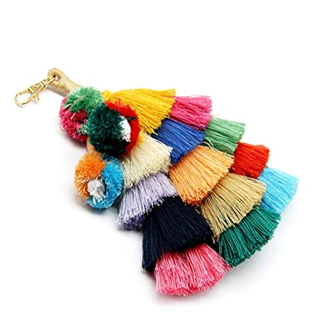 Bag Parts & Accessories Boho Women Colorful Tassel Key Chain Handbag Accessories Car Keyring Purse Decor