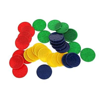 32pcs / Caja Juguetes Juegos Casino Fichas con Flores Póquer Mahjong Color Verde Azul Amarillo Rojo: Juguetes y juegos