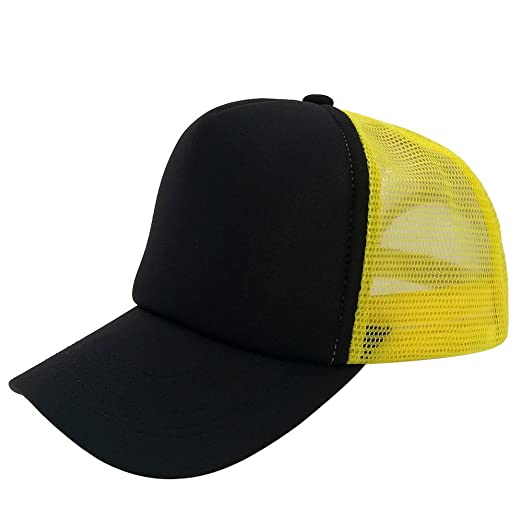 c26df8507ea Image Unavailable. Image not available for. Color  Unisex Snapback Plain  Baseball Cap With Adjustable Blank Yellow Black ...